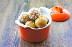 Interesting.....pineapple energy balls made with dates, dried pineapple, raw cashews and almonds..coconut and o.j.