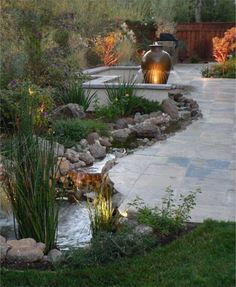 Pond, Water Garden accents for the patio. Modern Landscape Design, Garden Landscape Design, Modern Landscaping, Backyard Landscaping, Landscaping Ideas, Outdoor Rooms, Outdoor Gardens, Outdoor Living, Outdoor Kitchens