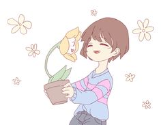 Flowey's being friendly. Yay. [Art by vanthefirst on Tumblr]
