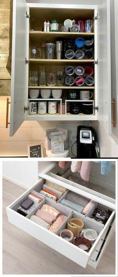 Easy & Clever Kitchen Storage & Organization Hacks Ideas Cheap Diy Home Decor, Diy Kitchen Decor, Kitchen Hacks, Kitchen Ideas, Clever Kitchen Storage, Kitchen Organization, Storage Organization, Storage Ideas, Small Kitchens