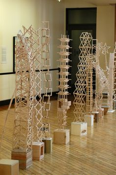 Popsicle Stick Architecture is part of School art projects - The popsicle stick creations of NDSU architecture students scrape the sky in the Museum atrium On display April 7 12 Sculpture Lessons, Sculpture Projects, Stem Projects, Projects For Kids, 3d Art Projects, Middle School Art Projects, High School Art, Collaborative Art, Popsicle Sticks