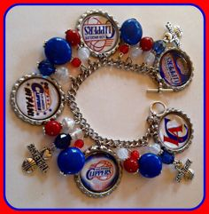 LaDeDa4U Bonnie Custom NBA Los Angeles Clipper Charm Bracelet  NFL NCAA MLB NBA