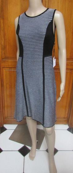 Calvin Klein Sleeveless Black & White Striped Sweater Dress Sz S NWT  #CalvinKlein #SweaterDress #WeartoWork