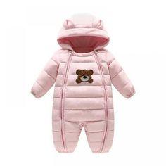 Huangou Unisex Infant Baby Hooded Puffer Jacket Jumpsuit Winter Snowsuit Coat Romper Warm Thick Coat Outfit