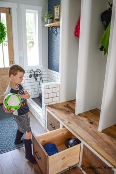 Home Renovation hallway mudroom dog bath renovation diy - Join me as I share the details of our large mudroom build, including a cutom dog bath! Mudroom Laundry Room, Laundry Room Design, Home Renovation, Home Remodeling, Dog Washing Station, Dog Rooms, Decoration, Building A House, House Plans