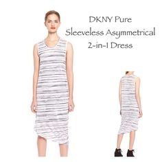⚡️Unique DKNY PURE Striped Two-fer Lined Dress⚡️ From DKNY Pure line comes this wonderful, wearable, comfy dress! White with black stripes with a detached black under dress making it a 2-in-1 beauty! NWT, MSRP $235. There is a very small hole where dress caught on something in shipping towards bottom side hem. Asymmetrical hem, tank sleeves. More pics, info, measurements to follow! (ZAA) DKNY Dresses Asymmetrical