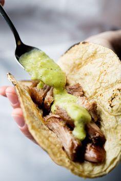 Crispy Crock Pot Carnitas with Avocado Salsa | So Munch Love