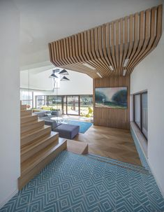 wooden structure in living room Design Case, Home Office, Stairs, House Design, Living Room, Interior Design, Inspiration, Inspired, Decoration