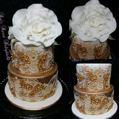Gold on White Elegant Wedding cake by Sue's Sweet Delights - http://cakesdecor.com/cakes/263657-gold-on-white-elegant-wedding-cake