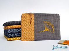 Täschchen mit Gingko-Stickerei / just sewn