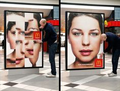 """MC Outdoor posters were turned into large interactive push puzzles that consumers could solve in order to """"sort your head"""". This was done to promote McDonald's Large Coffee for only 1 Euro in Sweden."""
