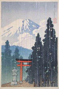 Mt. Fuji in the rain  by Kawase Hasui