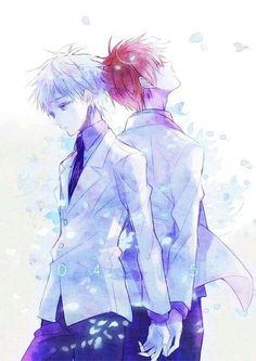 Akashi x Kuroko (AkaKuro) Akashi Kuroko, Akashi Seijuro, Fairy Tail, Karma X Nagisa, Desenhos Love, Akakuro, Ship Drawing, Gekkan Shoujo Nozaki Kun, Fan Anime