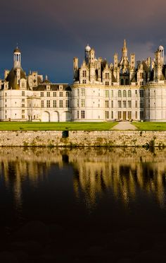 The royal Château de Chambord at Chambord, Loir-et-Cher, France, is one of the most recognizable châteaux in the world because of its very distinct French Renaissance architecture which blends traditional French medieval forms with classical Renaissance structures