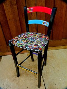 Handpainted Funky Furniture by dannimacstudios on Etsy, $250.00=think I could do this
