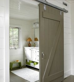 love me some barn doors. Maybe the doors in the bedroom upstairs? Bathroom Barn Door, White Vanity Bathroom, Small Bathroom, Bathrooms, Master Bathroom, Design Bathroom, Basement Bathroom, Master Closet, Bathroom Faucets