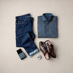 Shirt: Vastros // Denim: Jachs NY // Shoes: Paul Evans // Socks: Unsimply Stitched // Leather Balm: Smith's Leather Balm Mens Fashion 2018, Outfit Grid, Classic Outfits, Classic Style, Outfit Combinations, Cut Shirts, Mens Clothing Styles, Stylish Men, Light House