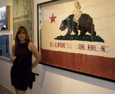 Artist Jilian Kogan with California in Wonderland, 2009 Assemblage Art Work Donated for Auction to MOCA | Bear Flag Museum