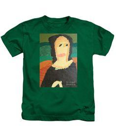 Patrick Francis Designer Kids Kelly Green T-Shirt featuring the painting Mona Lisa 2014 - After Leonardo Da Vinci by Patrick Francis