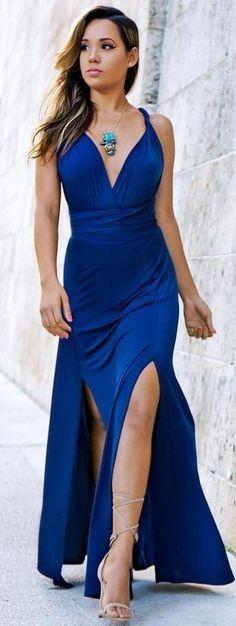 #summer #sensual #chic #outfits    Blue Maxi Dress