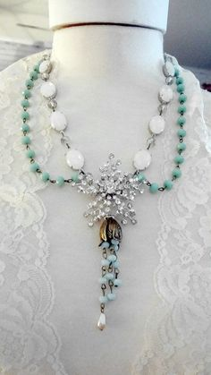 Assemblage Necklace, Shabby Rhinestone Recycled Necklace, Eco Friendly, Romantic Cowgirl, Hollywood Regency, Bertha Louise Designs
