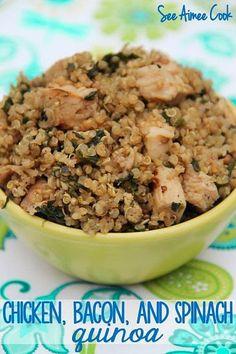 See Aimee Cook: Chicken, Bacon, and Spinach Quinoa (Secret Recipe Club)