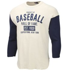 Men's Cream/Navy Blue Baseball Hall of Fame League Leader Raglan T-Shirt