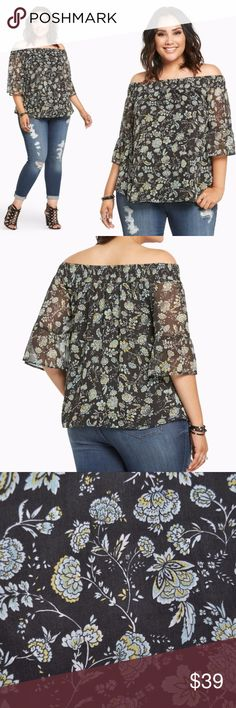 """New TORRID Floral Chiffon Off-Shoulder Top NWT You & this top deserve each other. The ethereal black chiffon is draped oh-so-delicately in a peasant silhouette (complete w/bell sleeves & smocked off shoulders). A green+yellow floral print keeps up the dreamy look. Fully lined.  Available in size 00 (M/L 10) 