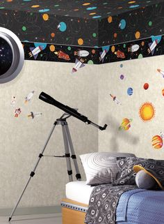 Outer Space Wallpaper and Border. Boys will be Boys from York Wallcoverings.