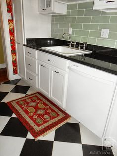 White traditional kitchen, glass subway tile, checkerboard floor, Aesthetic Oiseau: AO House Tour: Kitchen Remodel