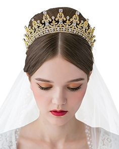 Luxury Crystal Tiara Queen Crown Rhinestone Headpieces - Bridal Hair  Accessories w  Gems for Wedding Pageant Prom Party 4cbeae44e0e2