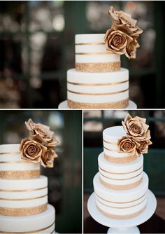 White with gold wedding cake