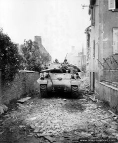July 7, 1944: M-10 Tank Destroyer from B Company, 703rd Tank Destroyer Battalion, 3rd Armored Division the day of the liberation of Saint-Fromond by the 117th Infantry Regiment, 30th Infantry Division.