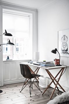 Home Office Design Modern Eames Chairs 64 Ideas Home Office Inspiration, Workspace Inspiration, Office Ideas, Office Hub, Office Themes, Interior Design Examples, Interior Design Inspiration, Design Ideas, Interior Designing