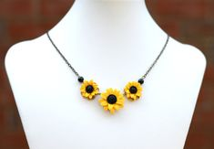 Yellow Sunflower Centered Necklace Sunflower Necklace by Diaszabo, $32.00