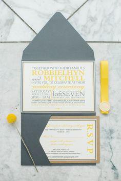 grey and yellow wedding invitations, photo by Jenna Bechtholt http://ruffledblog.com/los-angeles-rooftop-wedding #weddinginvitation #stationery