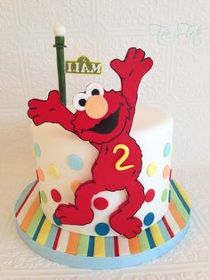 Elmo cake, use bright girly colors instead