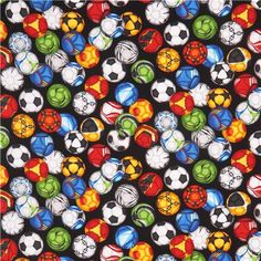 Soccer Balls on Black Fabric / Soccer Fabric / Robert Kaufman Sports Life 3 - Soccer Balls by the yard / Fat Quarters and Yardage by SewWhatQuiltShop on Etsy