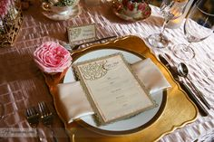 Beautiful menu cards and matching placecards with ornate trim in gold and a lattice diecut with rhinestone accents. (Designed by Creative Weddings Stationary Designs)