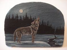 Wolf scene hand painted on slate by wildstonepainter on Etsy, $32.00