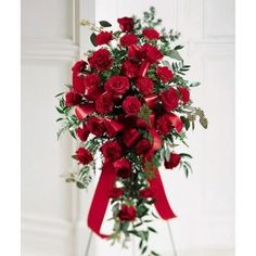 All red funeral standing spray, a perfect floral arrangement for a service at a funeral home or a church. Flowers on first in Vancouver offer delivery service to all local funeral homes in the Vancouver area. Funeral Floral Arrangements, Flower Arrangements, Red Flowers, Red Roses, Yellow Roses, International Flowers, International Florist, Funeral Gifts, Funeral Ideas