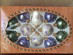 Krebs Ornaments, Vintage Christmas, Hand Painted Pansy, Purple Krebs, Gold Crown Krebs, 12 Box Set German Glass, Holiday Decor Tree Trimming