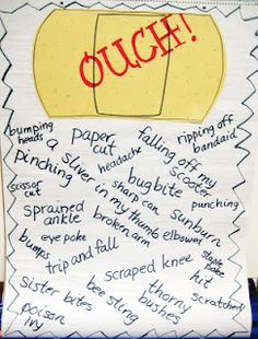 Make your own ouch poem on a big band aid after reading the poem  Sick by Shel Silverstein  love it. I can not go to school today said Little Peggy
