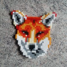 Wild animals, forest, Fox, zorro 33x32 perler beads, hama beads, bead sprites, nabbi fuse melty beads by lupus_woofy
