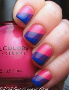 Inspired By A Flag: Bi-Pride Flag Manicure This is really cool, and now I want to do it. Cute Nails, Pretty Nails, Hair And Nails, My Nails, Flag Nails, Nail Polish, Rainbow Nails, Nagel Gel, Nail Inspo