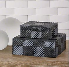 "Black textured tiles create a checkerboard pattern on this hand-crafted collection. Sm -5.75""L x 5.75""W x 2.25""H Med -8.25""L x 8.25""W x 3""H Lg - 10.25""L x 10.25"