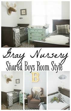 Gray Nursery - Shared boys room style Beds in front of window - an idea