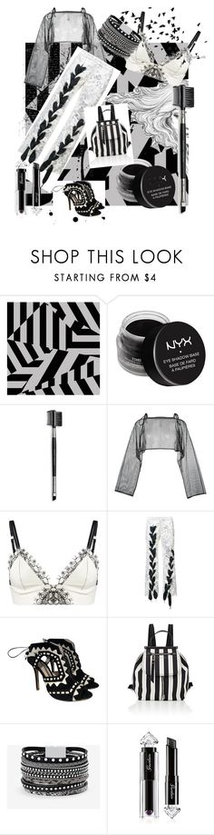 """black and white world."" by bhavee-verma ❤ liked on Polyvore featuring NYX, Mary Kay, demoo parkchoonmoo, Loveday London, Marques'Almeida, Sophia Webster, Marc Jacobs, White House Black Market and Guerlain"