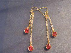OOAK! Faceted Red Garnet, Gold Chain, Dangle Earrings! January Birthstone! Garnet Earrings, Long Dangle Earrings, Teen, Woman's Earrings