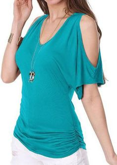 #Valentines #AdoreWe #Fairy Season - #Solid Solid Hollow Out V-Neck Fashion Blouse Without Necklace - AdoreWe.com